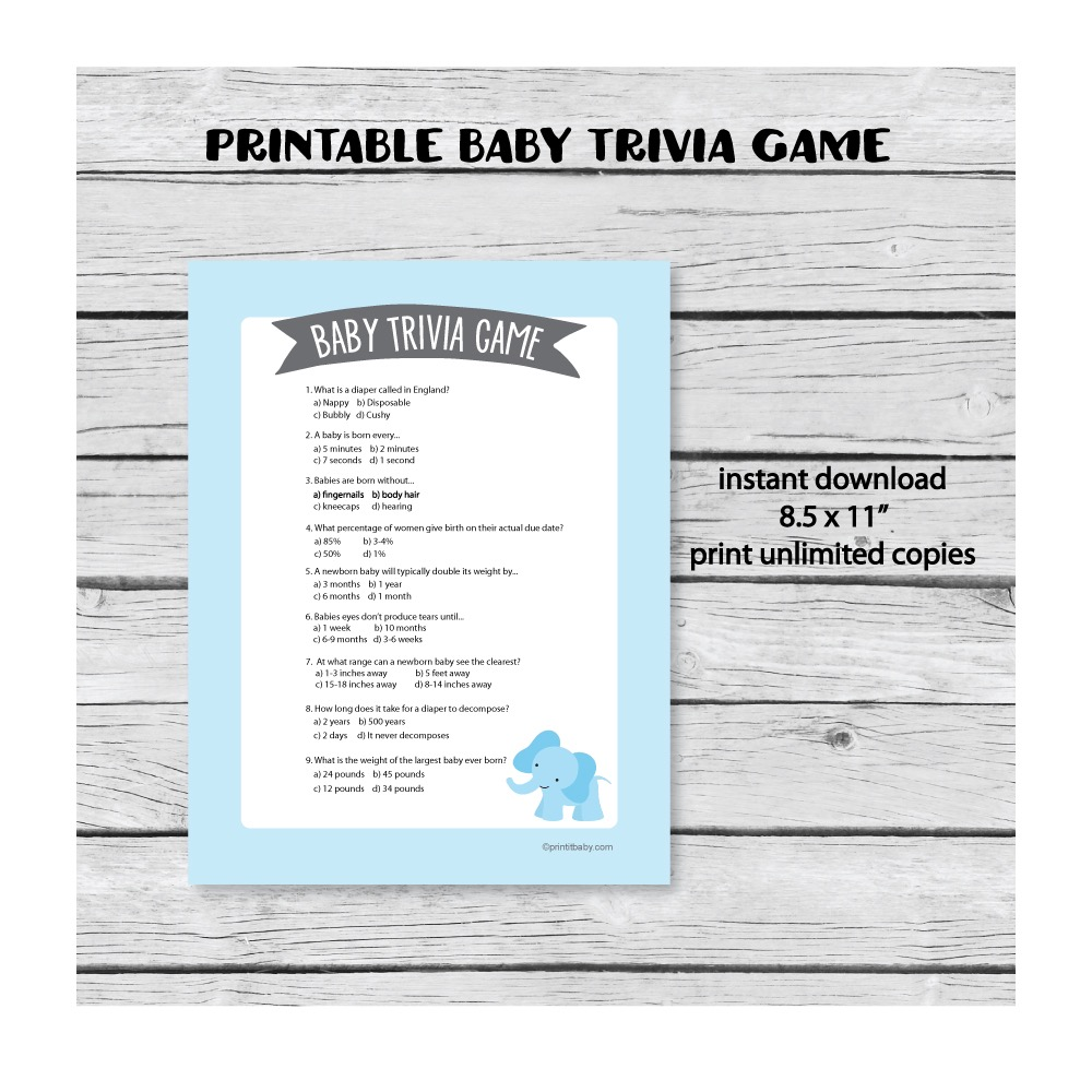 baby shower trivia game blue elephant theme print it baby