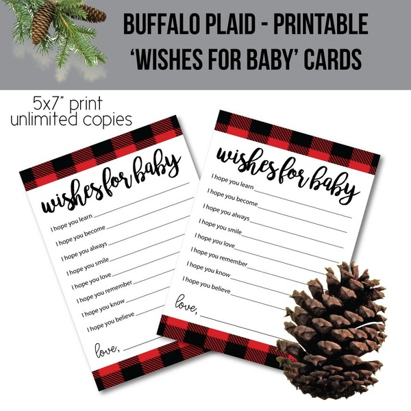 Printable Buffalo Plaid Wishes For Baby Cards