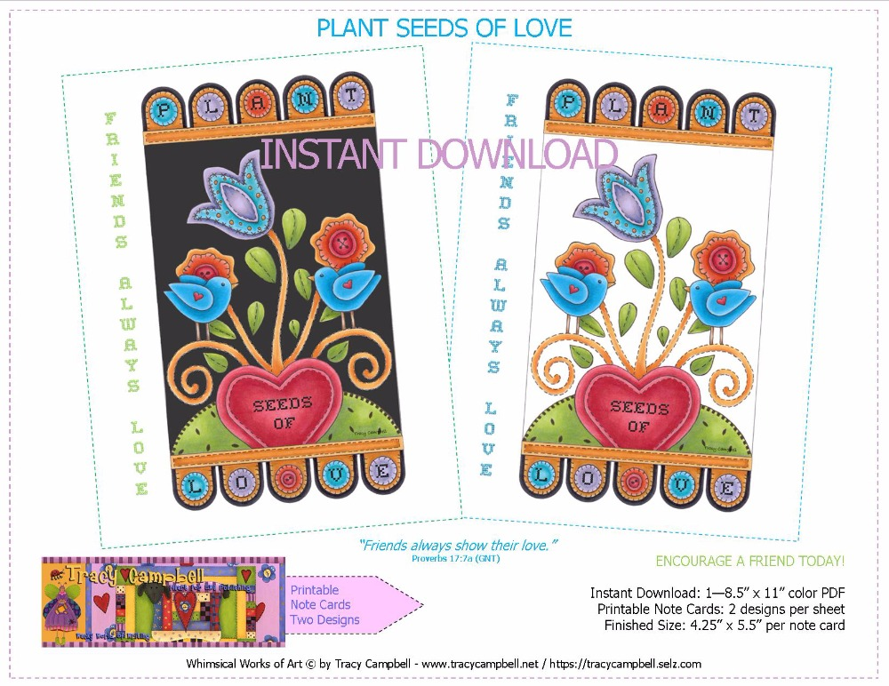 TWO PRINTABLE NOTE CARDS—PLANT SEEDS OF LOVE