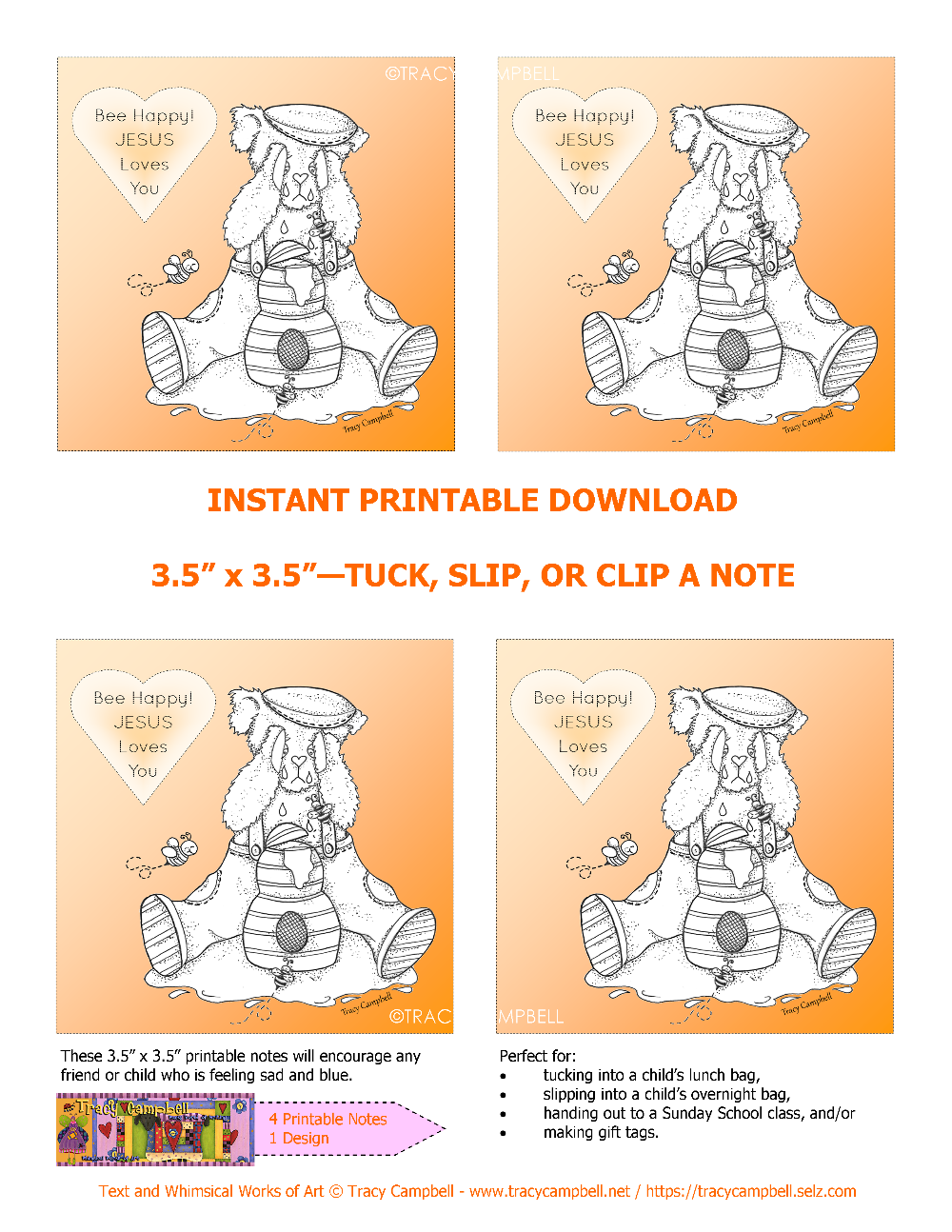 PRINTABLE NOTES - BEE HAPPY! JESUS LOVES YOU