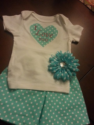 I Love You Pajama Short Set with Matching Hair Clip