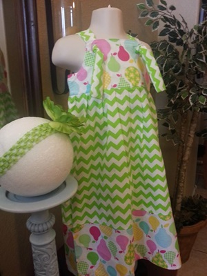 Pears and Lime Green Chevron Knot Dress with Headband
