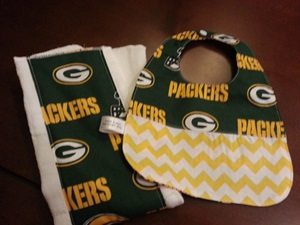 Green Bay Packers Baby Burp Cloth and Bib Set