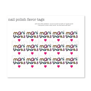 Mani Thanks Favor Tags - Colorful