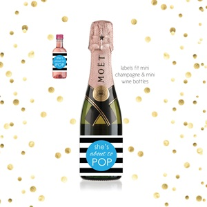About To Pop - Blue Mini Champagne Baby Shower Favor Labels