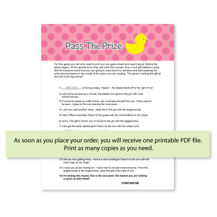 Pass The Prize Game - Pink Duck
