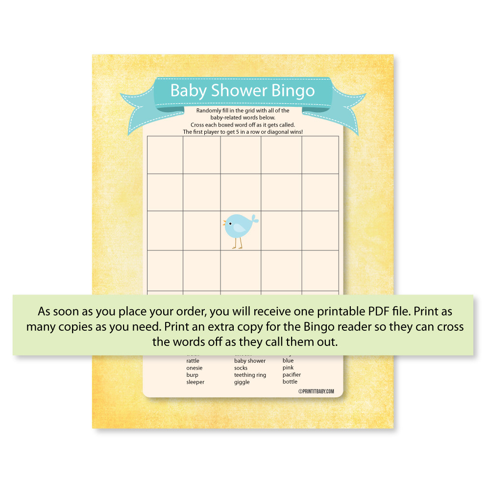 Baby Shower Bingo - Blue Bird