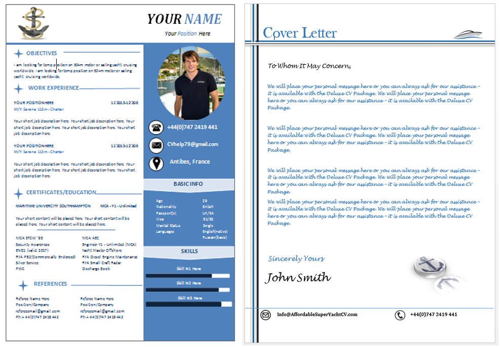 Yacht Captain Resume and Cover Letter Sample