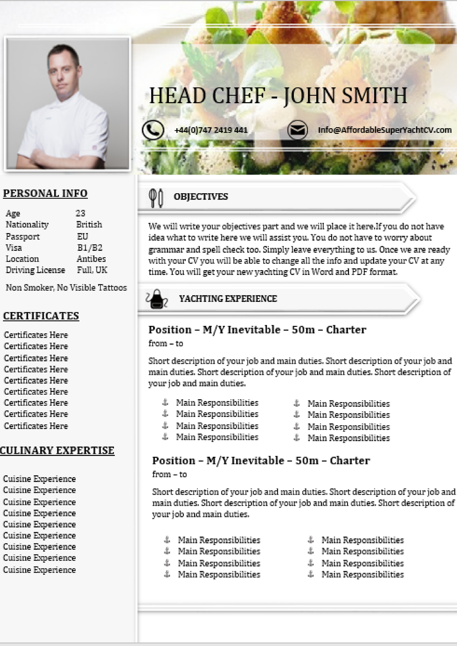 Chef Resume and CV Writing Service